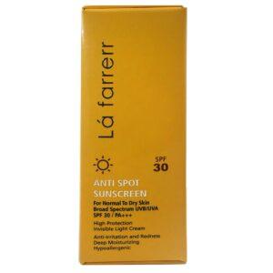 كرم ضد آفتاب و ضد لک SPF30 بدون رنگ پوست خشک و معمولی لافارر