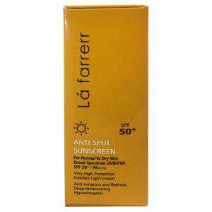 كرم ضد آفتاب و ضد لک SPF50 بدون رنگ پوست خشک و معمولی لافارر