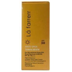 كرم ضد آفتاب و ضد لک SPF30 بدون رنگ پوست چرب و مستعد آكنه لافارر