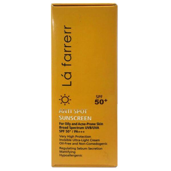كرم ضد آفتاب و ضد لک SPF50 بدون رنگ پوست چرب و مستعد آكنه لافارر