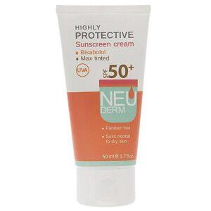 کرم ضد آفتاب SPF50 بژ تیره مناسب پوست نرمال تا خشک نئودرم 50 میل