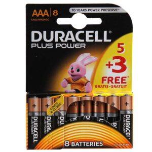 باتری نیم قلمی مدل Plus Power Duralock بسته 5 + 3 عددی دوراسل